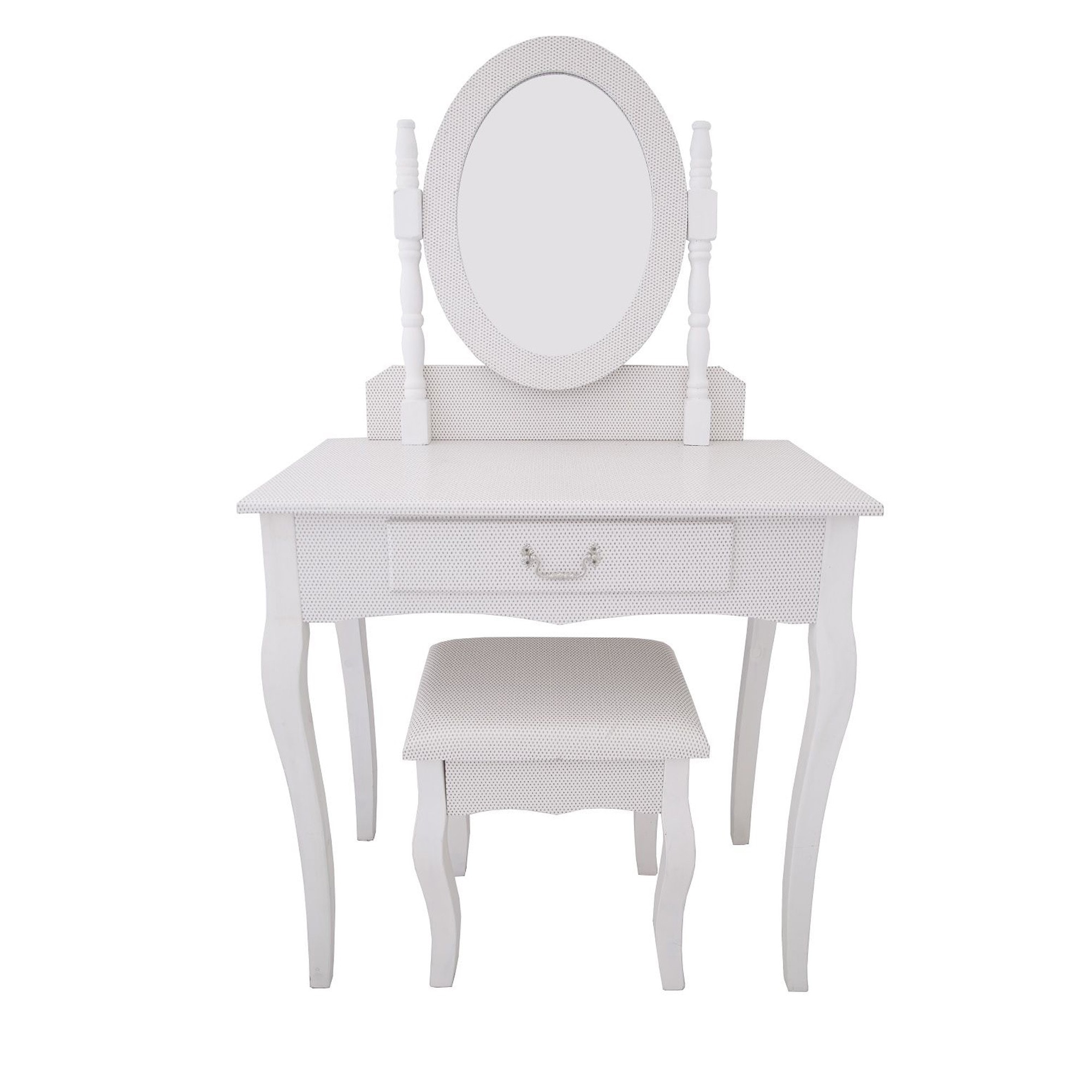 White Antique French Style Dressing Table Set White