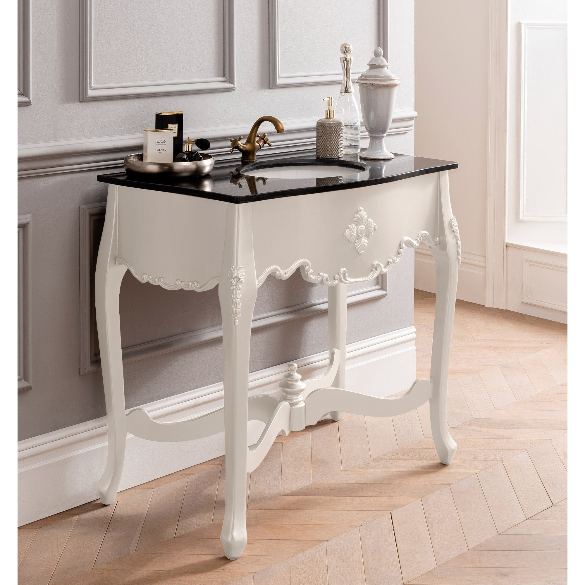 White Antique French Style Vanity Unit Bathroom Furniture