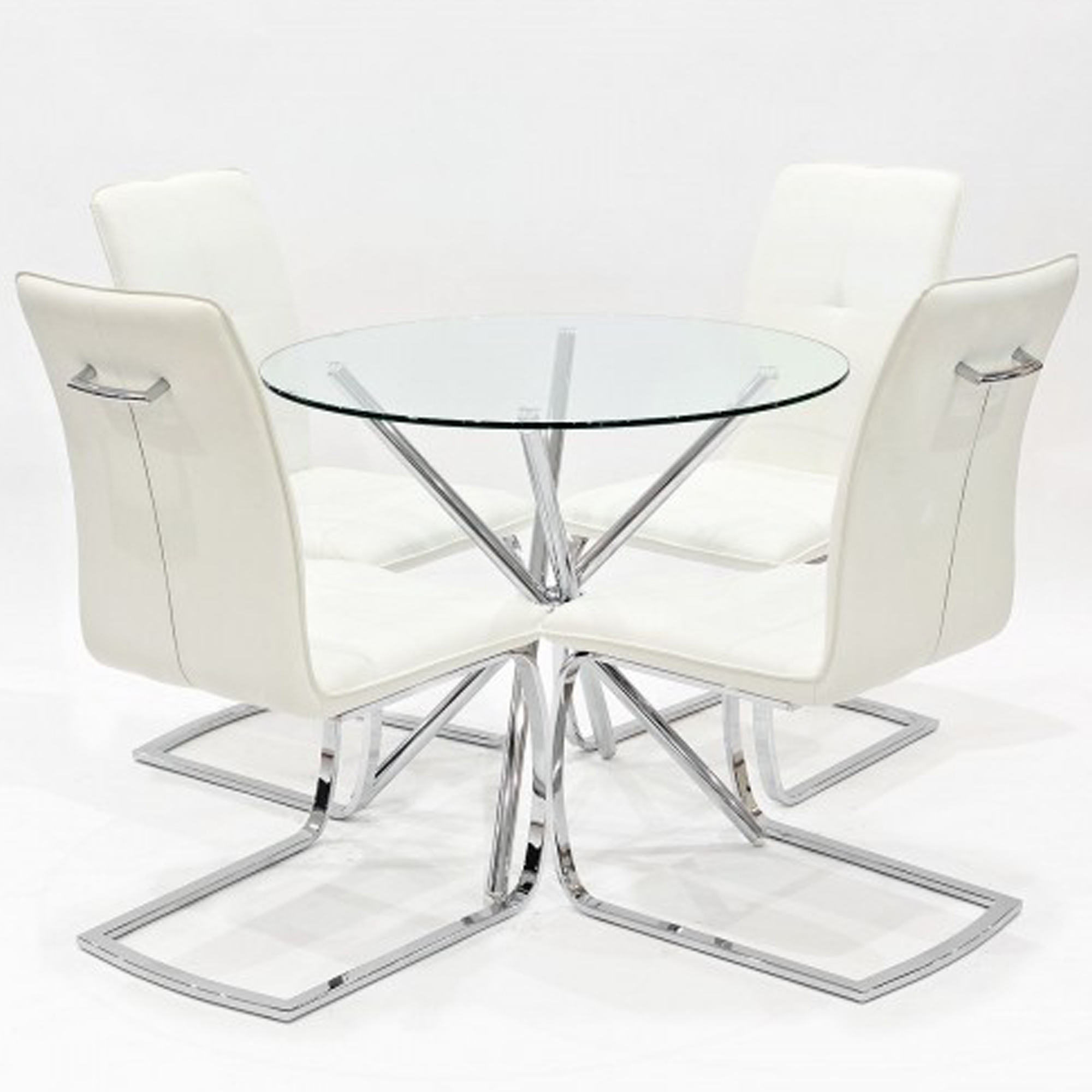 Fantastic White Belmont Cross Glass Dining Set Download Free Architecture Designs Grimeyleaguecom