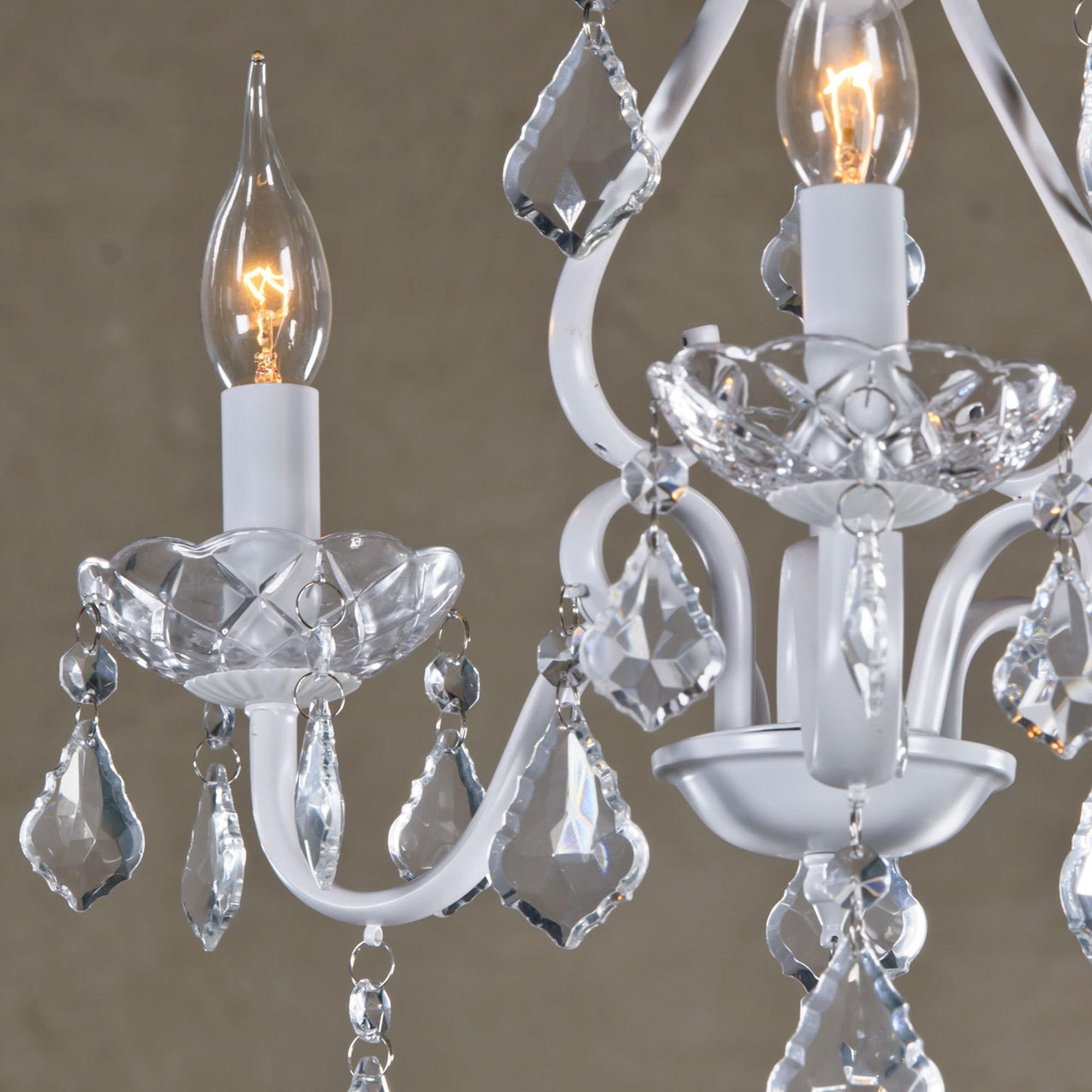White & Clear Vintage 3 Light Chandelier