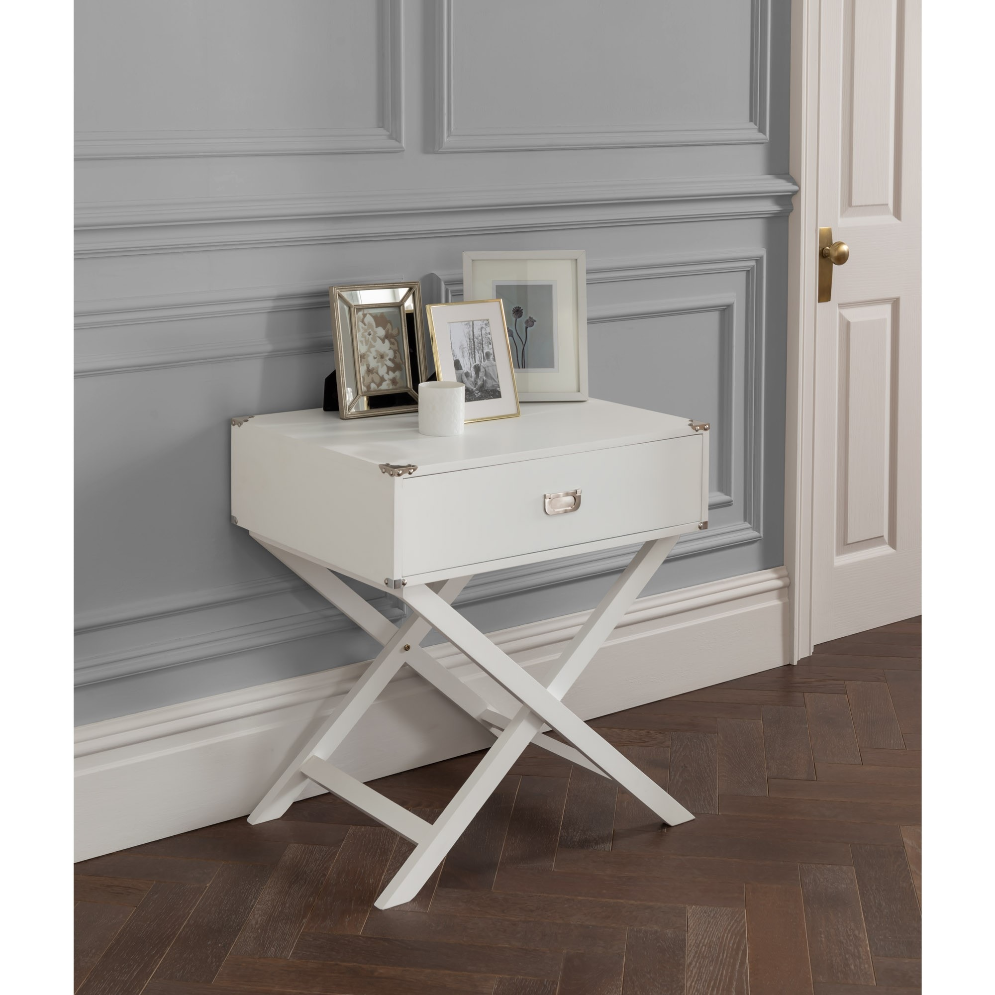 Picture of: White Cross Legged Bedside Table Modern Bedside Table