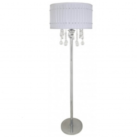 White Crystal Antique French Style Floor Lamp