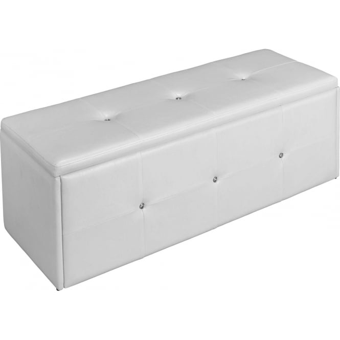 White Diamante Faux Leather Ottoman