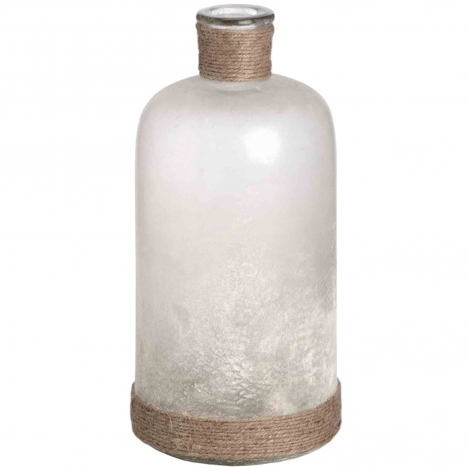 White Frosted Glass Vase