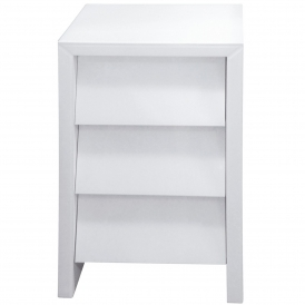 White Glass Bedside Table