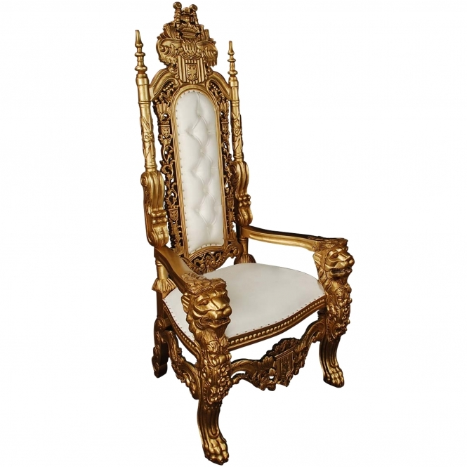 White & Gold Antique French Style Throne Chair