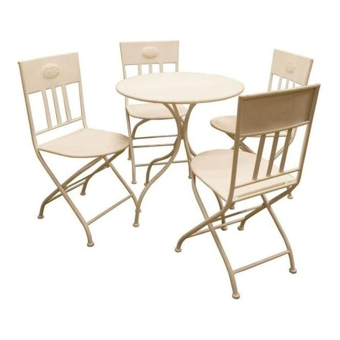 White Iron Round Table and 4 Chairs
