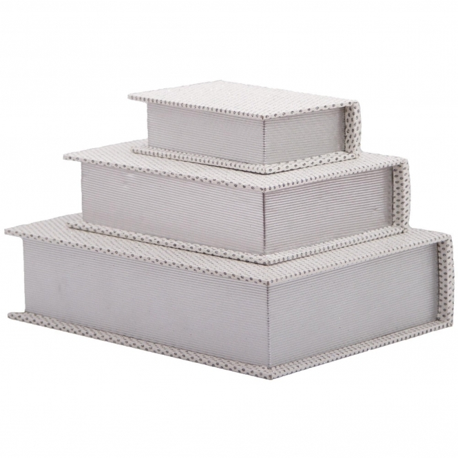 White Jewellery Book Boxes (Set Of 3)