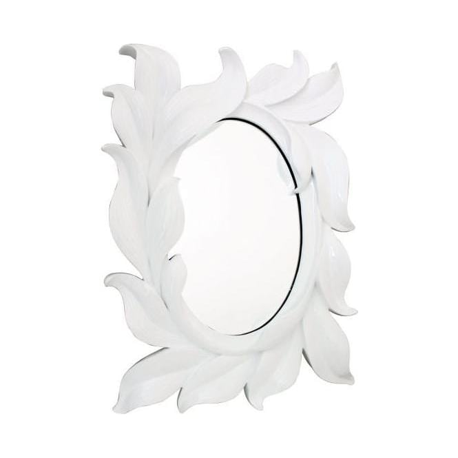 White Large Leaf Wall Mirror
