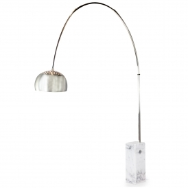 White Large Steel Arc Floor Lamp