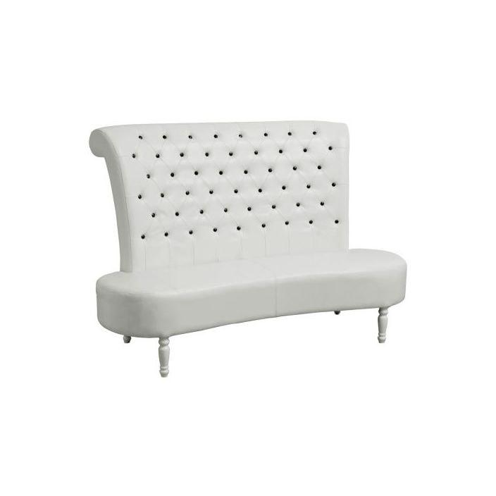 White Leather Sofa With Black Diamantes