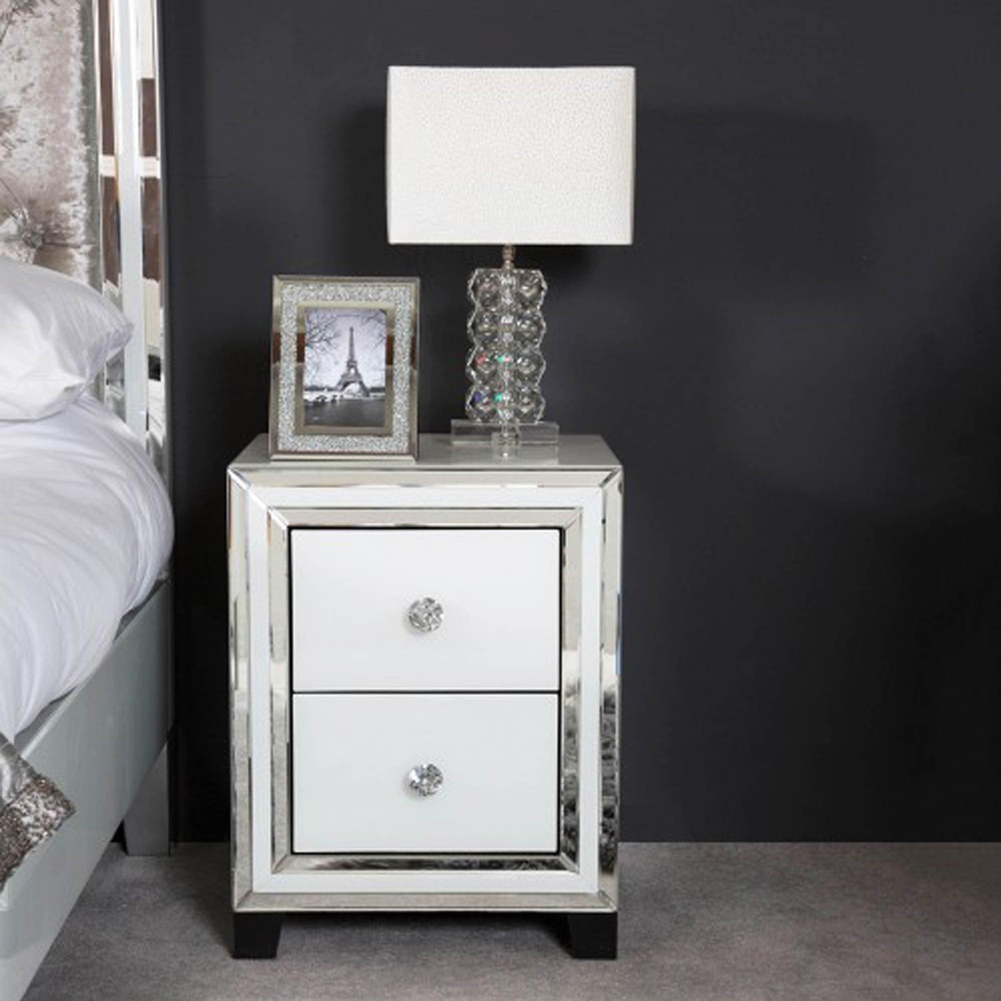 White Manhattan Mirror 2 Drawer Bedside Cabinet