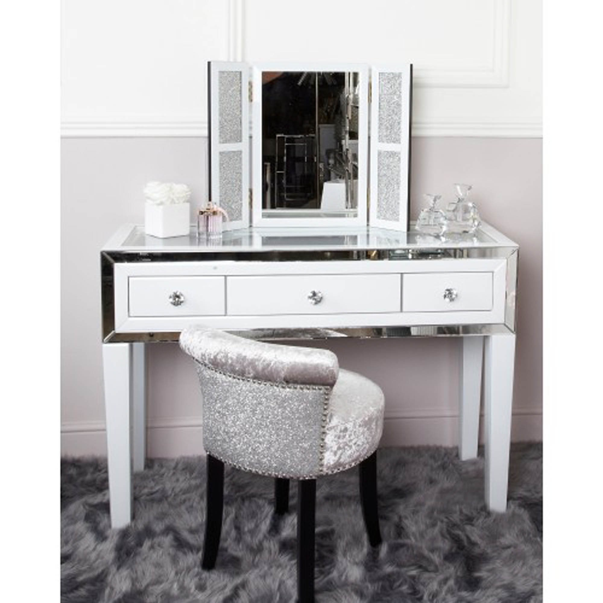 White Manhattan Mirror 3 Drawer Dressing Table Mirror Dressing Table
