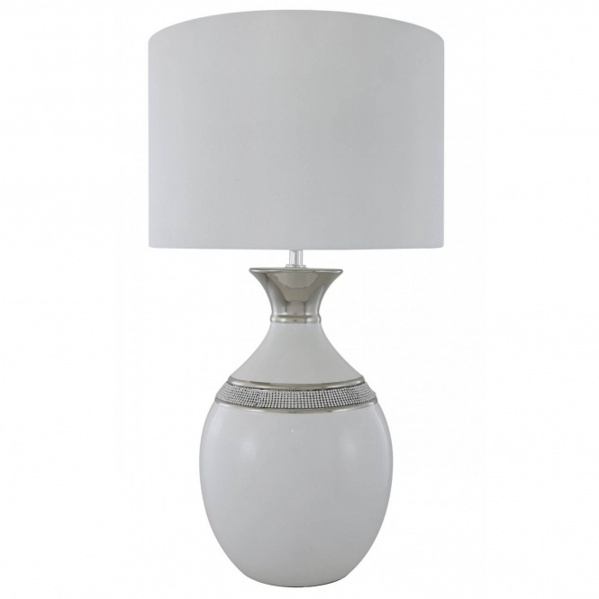 White Manhattan Oval Table Lamp