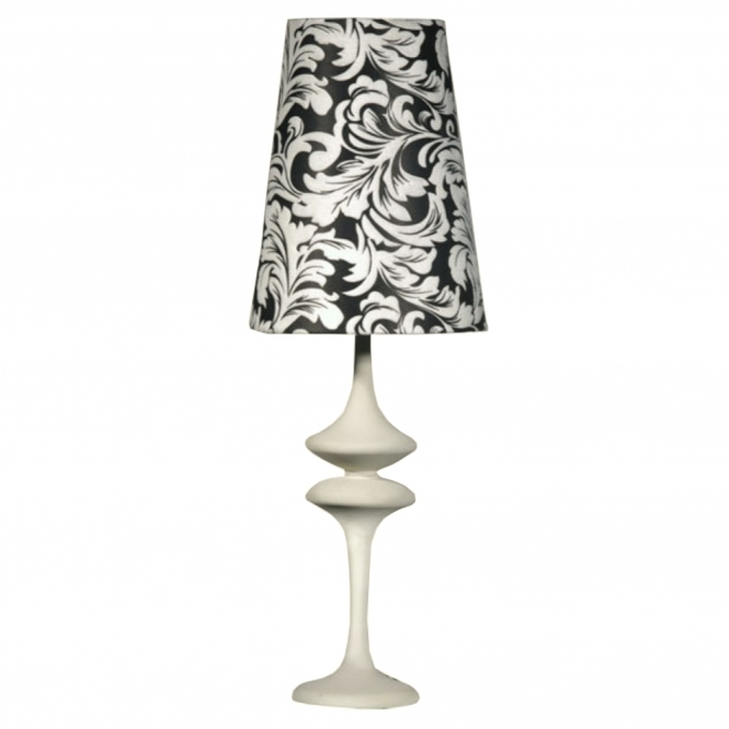 White Modern Table Lamp With Black & White Shade