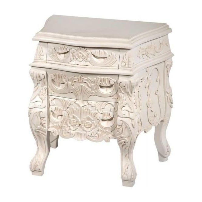 White Rococo Antique French Style Bedside