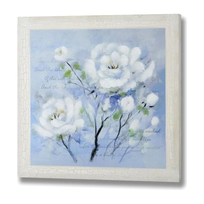 White Roses Hand Painted Canvas