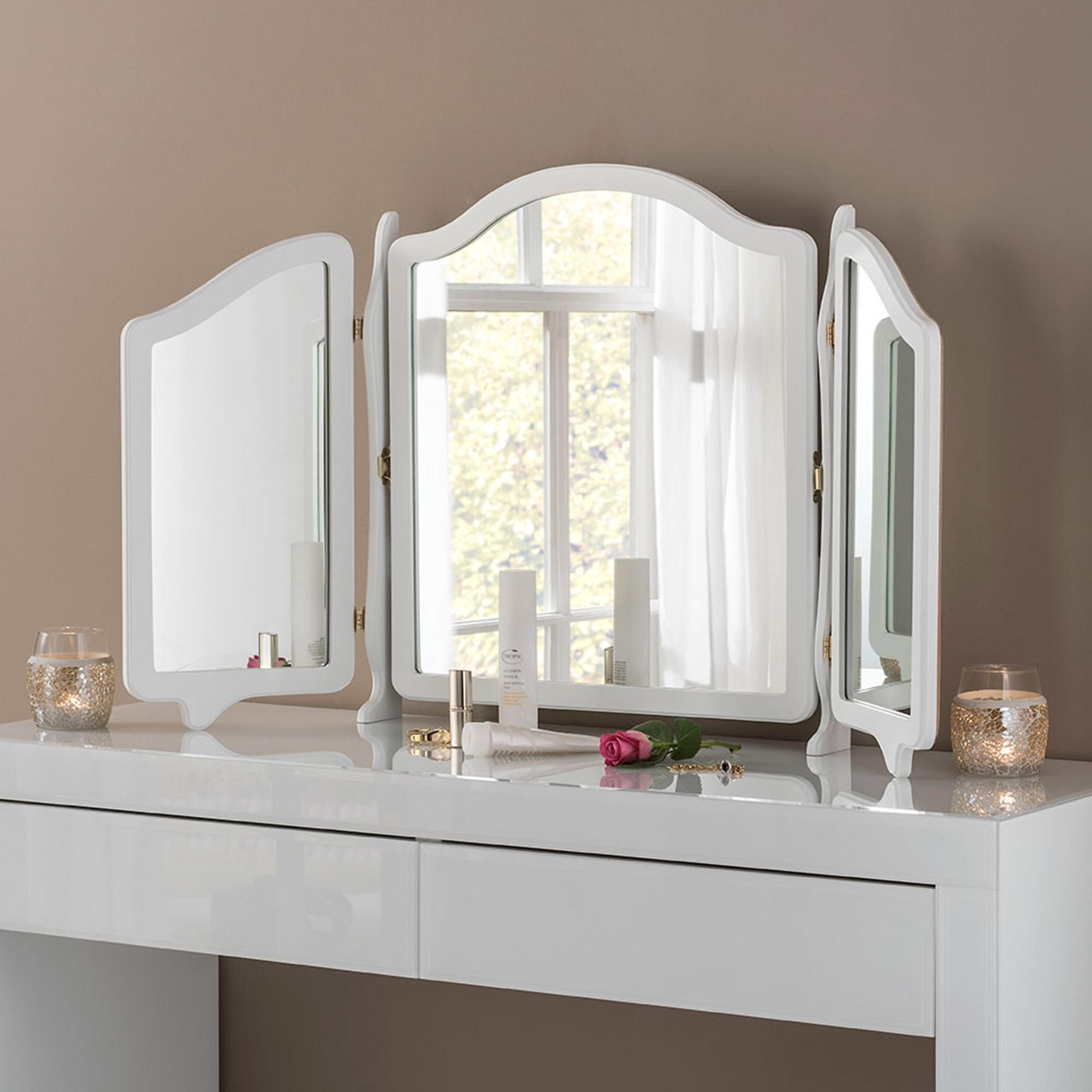 Vanity Mirror.White Triple Vanity Mirror