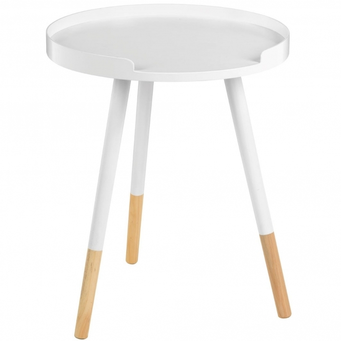 White Viborg Round Side Table