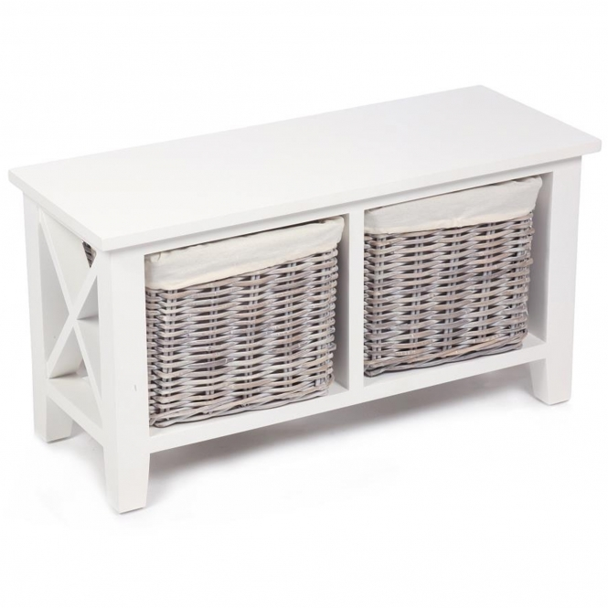 Wicker Merchant 2 Basket Low Cabinet