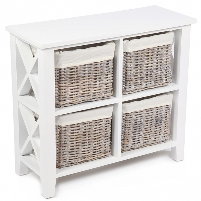 Wicker Merchant 4 Basket Cabinet