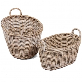 Wicker Merchant Set of 2 Oval Baskets