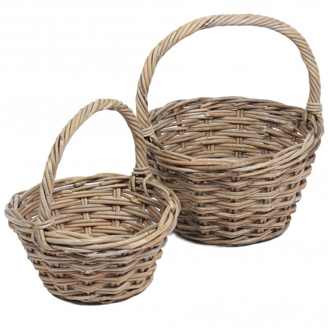 Wicker Merchant Set of 2 Round Baskets With High Handles