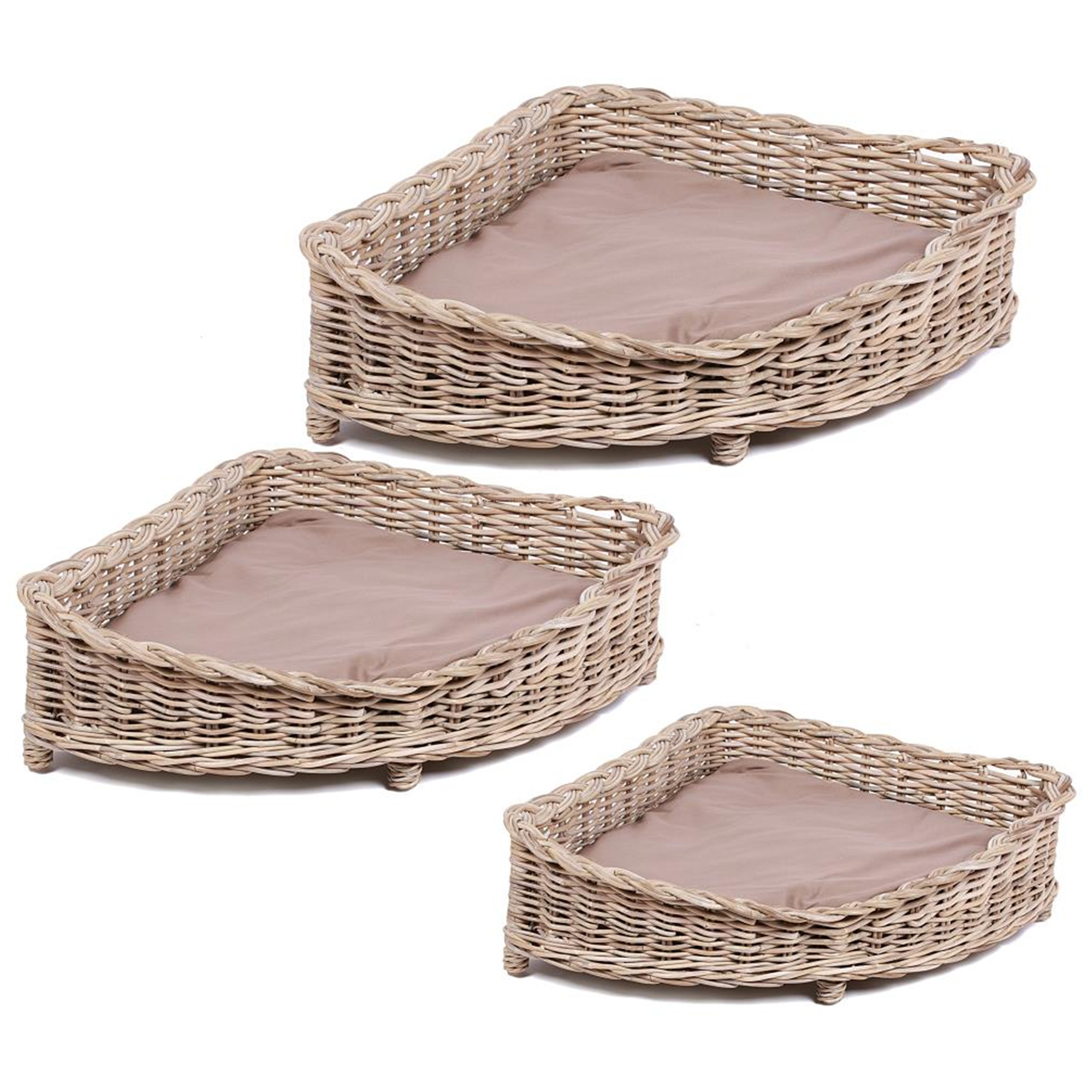 Wicker Merchant Set Of 3 Corner Baskets
