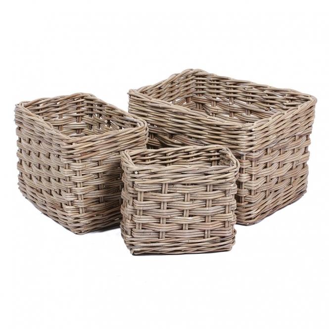 Kooboo Wicker Chair: Wicker Merchant Set Of 3 Rectangular Baskets