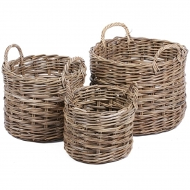 Wicker Merchant Set of 3 Round Baskets