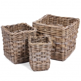 Wicker Merchant Set of 3 Square Baskets