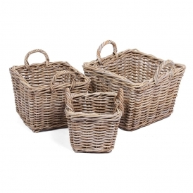 Wicker Merchant Set of 3 Square Baskets With Ear Handles