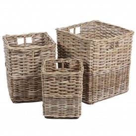 Wicker Merchant Set of 3 Square Baskets With Hole Handles