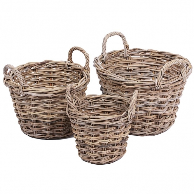 Wicker Merchant Set of 3 Tapered Round Baskets