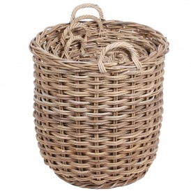 Wicker Merchant Set of 4 Round Baskets