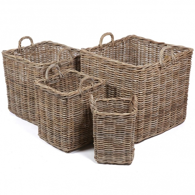 Wicker Merchant Set of 4 Square Baskets