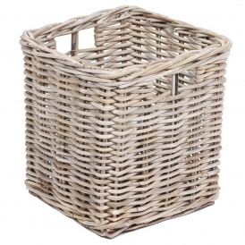 Wicker Merchant Square Basket With Hole Handles
