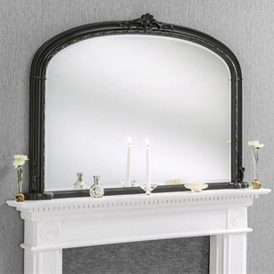 Windsor Antique French Style Black Overmantle Mirror
