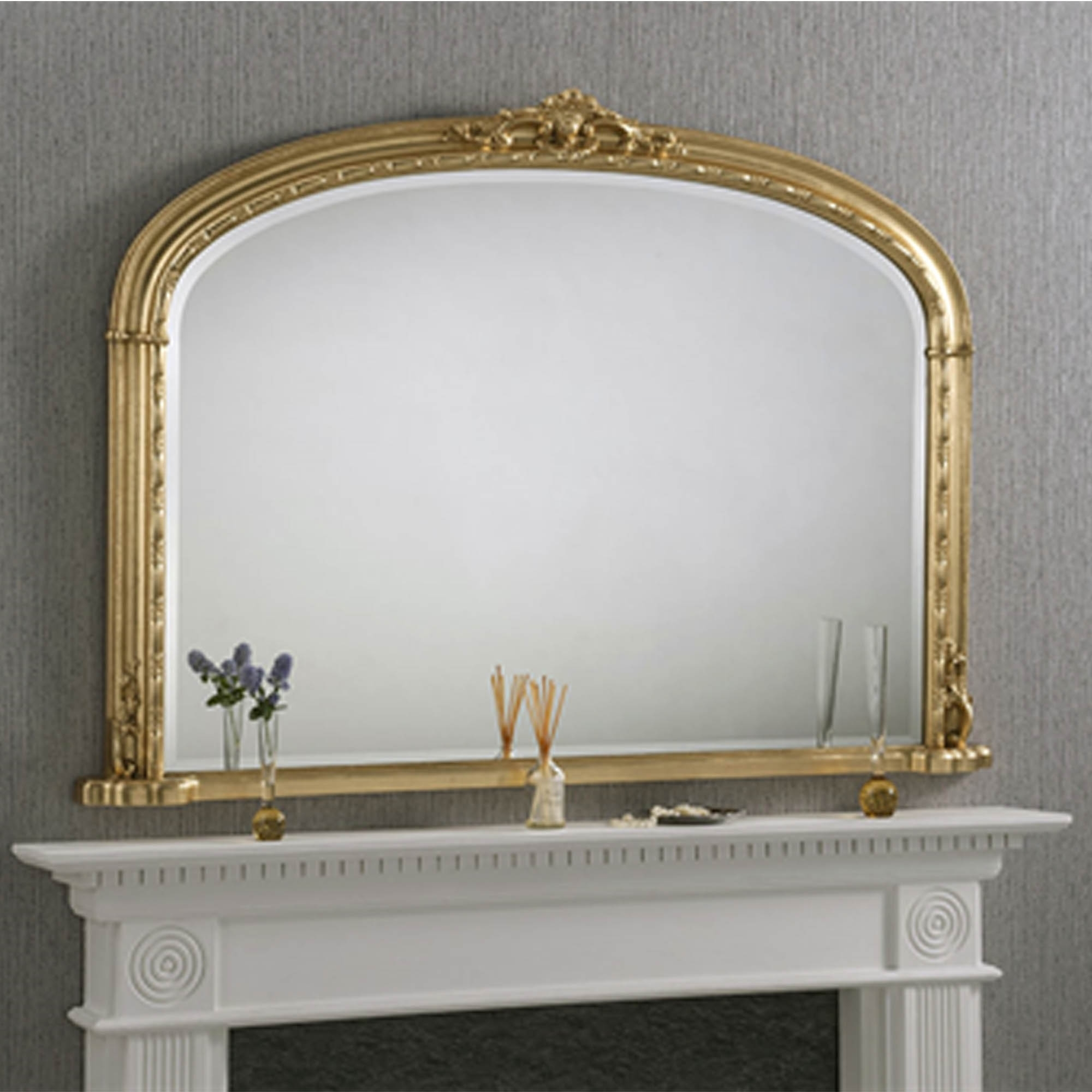Windsor Antique French Style Gold Overmantle Mirror Homesdirect365