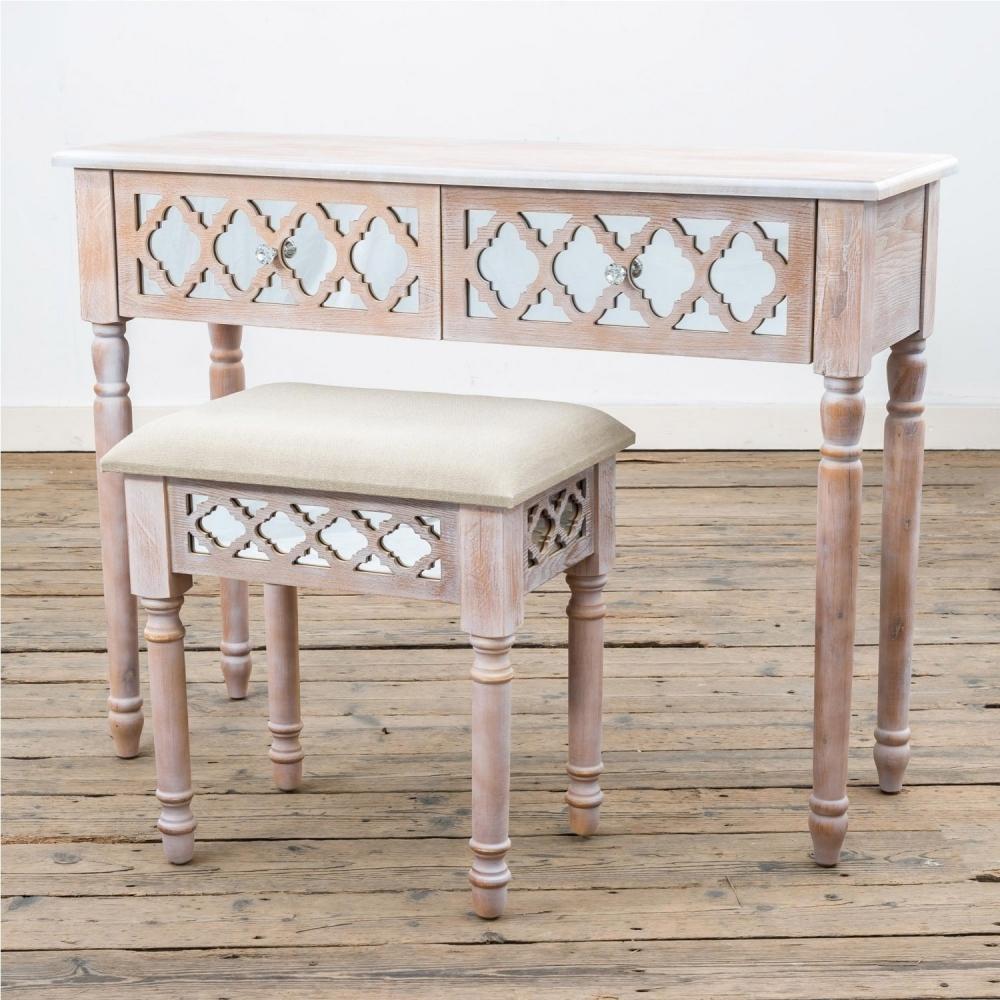 Wood Lattice Mirrored Dressing Table and Stool | Bedroom furniture ...