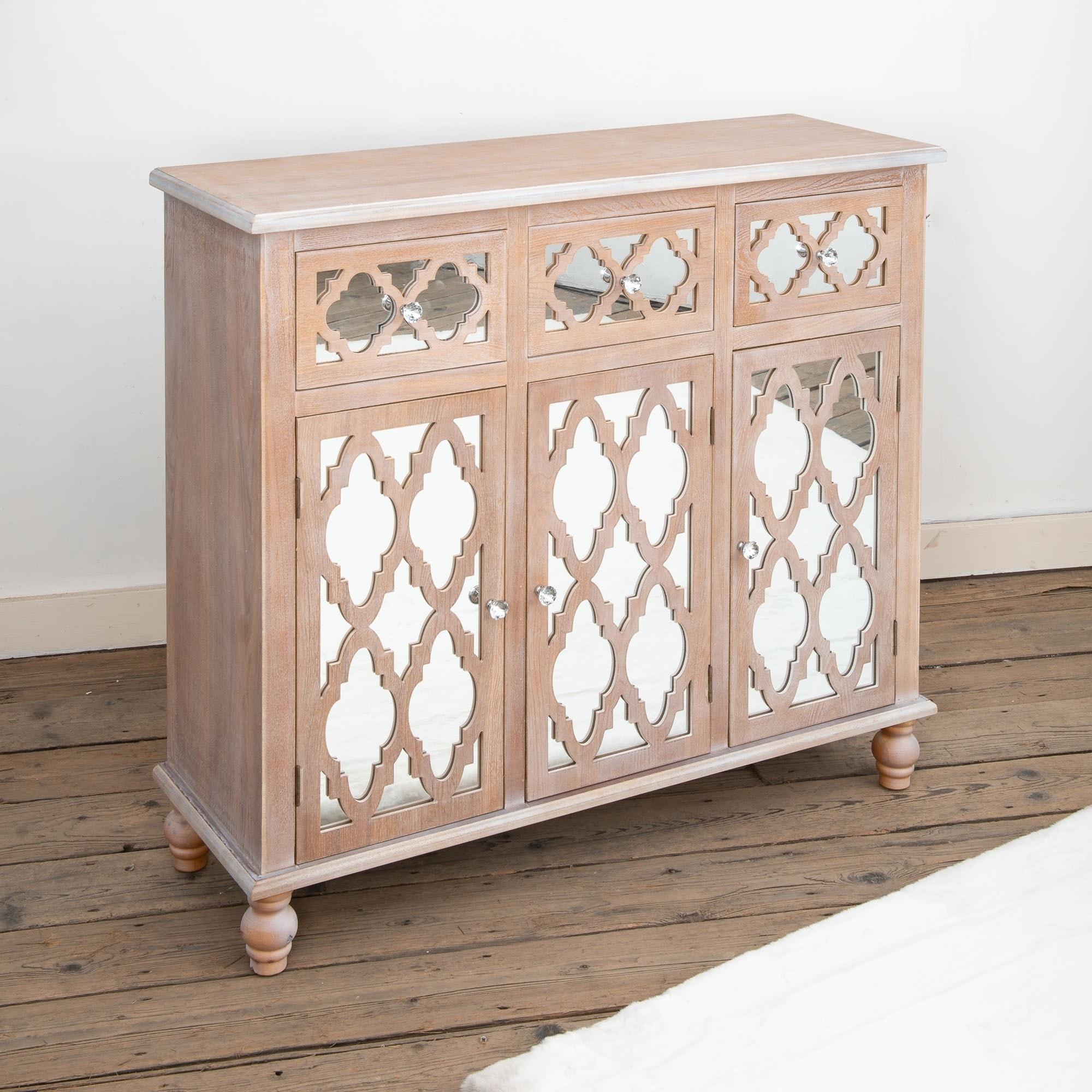 Wood Lattice Mirrored Sideboard Cabinet Wooden Sideboard