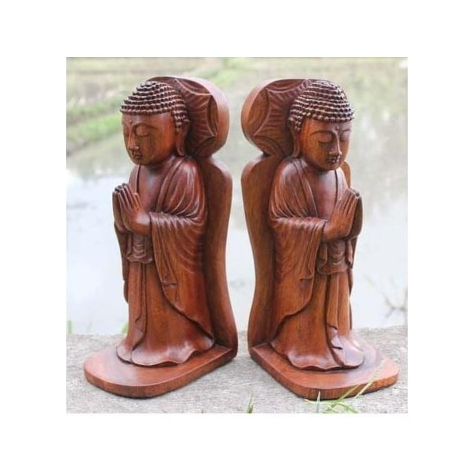 Wooden Buddha Praying Bookends