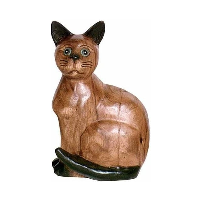 Wooden Cat Sitting (Small)